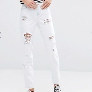 Dittos White Distressed Skinny Jeans